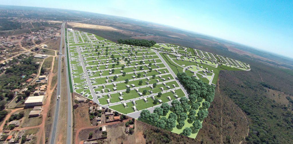Vista aérea do loteamento Cidade Viva localizado em Luziânia - Goiás.